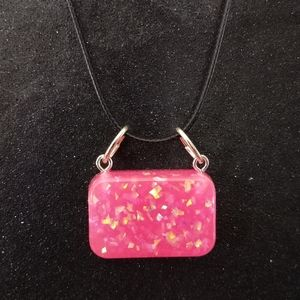 Neon pink faux opal rectangle on black necklace
